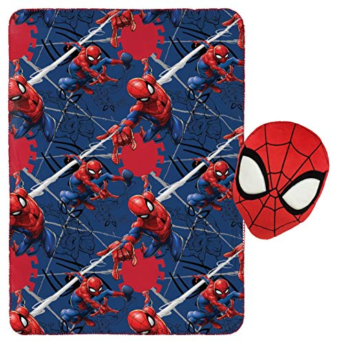 "Jay Franco Marvel Spiderman Plush Pillow and 40"" Inch x 50"" Inch Throw Blanket - Kids Super Soft 2 Piece Nogginz Set (Official Marvel Product)"