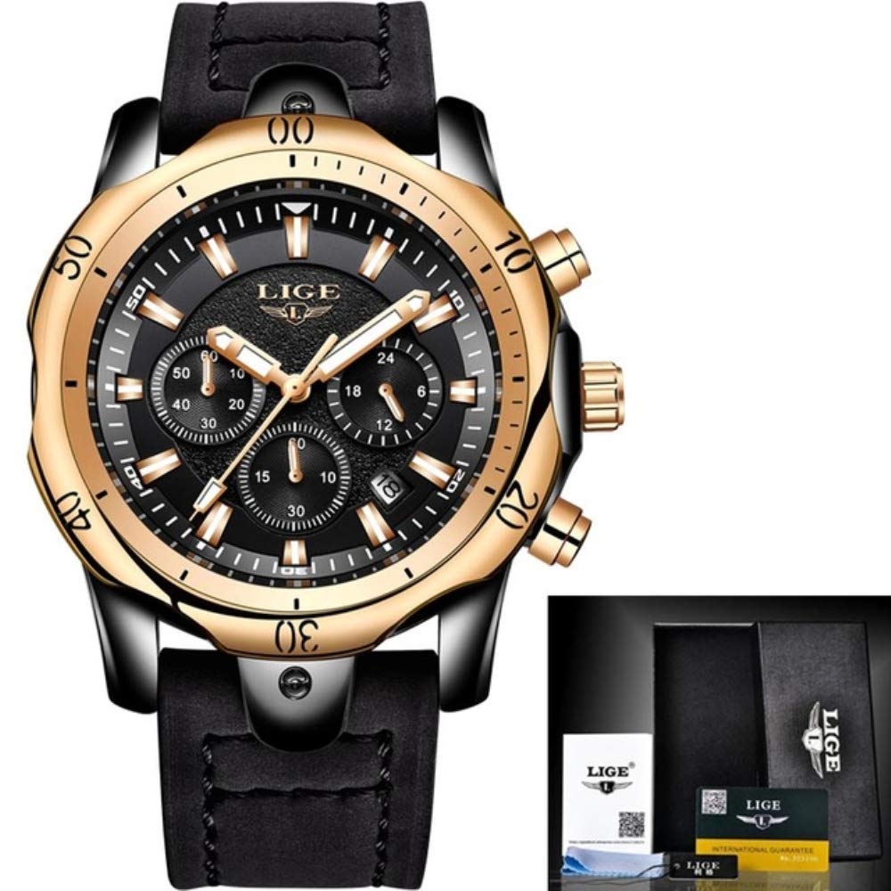 2018 LIGE Mens Watches Brand Luxury Gold Quartz Watch Men Casual Leather Military Waterproof Sport Wrist Watch Relogio Masculino 62 (Black Rose Leather)