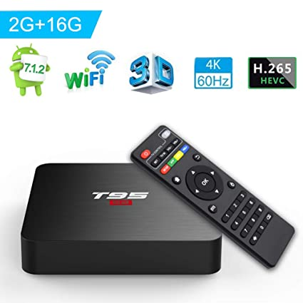 YAGALA Android 7 1 TV Box, T95 S2 Media Player S905W Quad-core 2GB RAM 16GB  ROM 4K 3D 2 4GHz WiFi 100M LAN HDMI