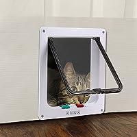Cat Door - TKOOFN Pet Supply 4 Way Locking In & Out Cat Flap with Door Liner, White, Large