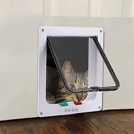 Tkoofn - Gatera de seguridad para gato o perro, 4posiciones, bloqueo con