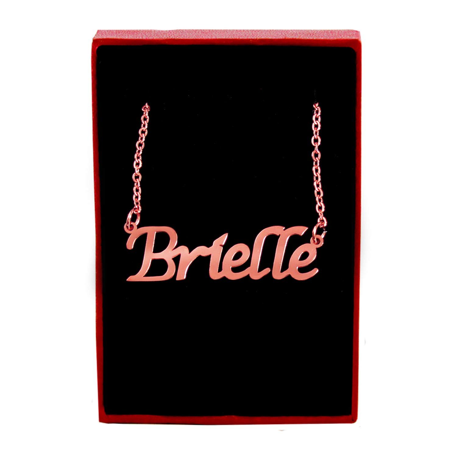 Zacria Brielle Custom Name Necklace Personalized 18ct Rose Gold Plated