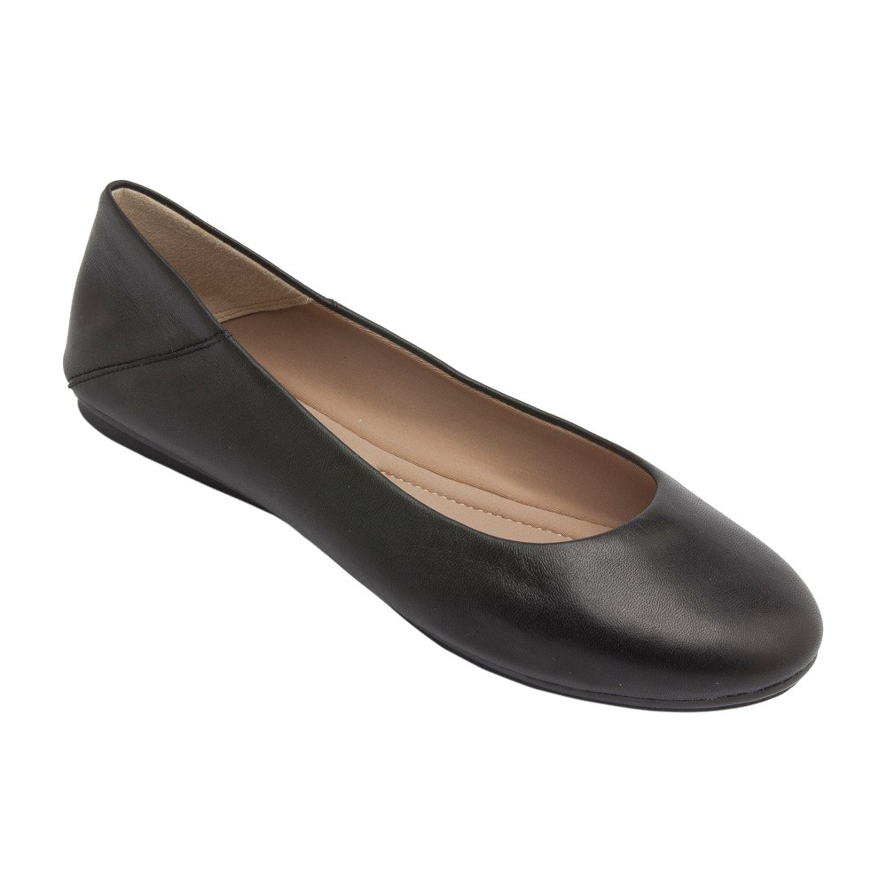 PIC/PAY Kay - Women's Leather Ballet Flat  - Classic Round Toe Comfortable Slip-on B07533YQY3 7.5 B(M) US|Black Leather