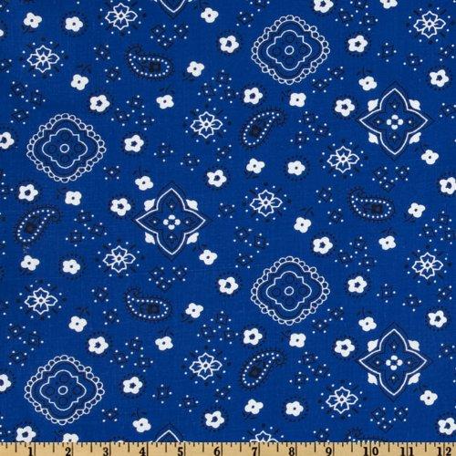 Red Fabric Bandana - Richland Textiles Bandana Prints Royal Fabric by The Yard, Royal