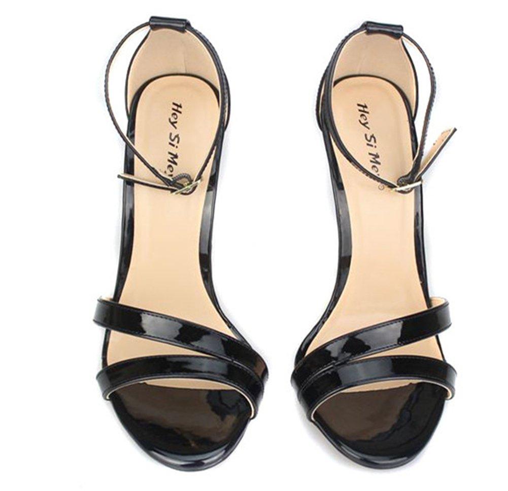 Sandali Alto Tacchi Per Donna Estate Sbirciare Dito Del Piede Piede Piede Caviglia Cinghie Nero Vestito Festa Taglia 40-49,Nero,EUR40/UK8 - 47f831