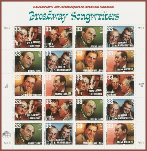 Music Stamp Series - Collectible USA Postage Stamps 1999: American Music Series: Broadway Songwriters MNH Sheet