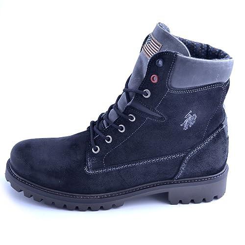 Botas DE Zapatos Polo DE LOS EEUU EN Cuero Negro Y Talla Suede 41 ...