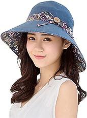 Floralby Sombrero de sol para mujer, plegable, amplio, sombrero de playa de verano, reversible, protección UV, Azul, Una talla