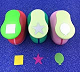 TECH-P Creative Life Hand Press Paper Craft Punch,card Scrapbooking Engraving Kid Cut DIY Handmade Hole Puncher-3 Pack (Balloon+Square+Star)
