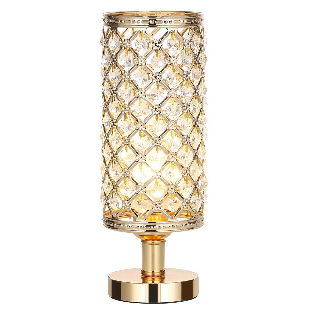 HAITRAL Crystal Bedside Table Lamps Dresser Table HT-BD017G Living Room Modern Gold Nightstand Desk Lamp with Beads Lampshade Metal Base Stylish Bedside Lamps for Bedroom Ideal Gifts Coffee