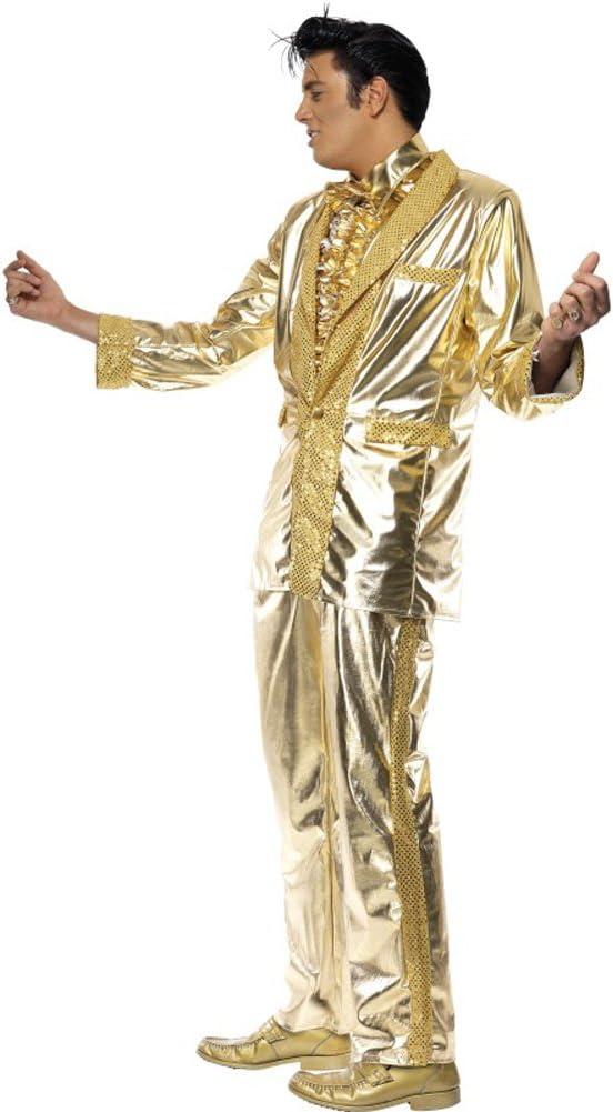 Disfraz de Elvis Presley Lame Dorado Adulto Cualquier día: Amazon ...