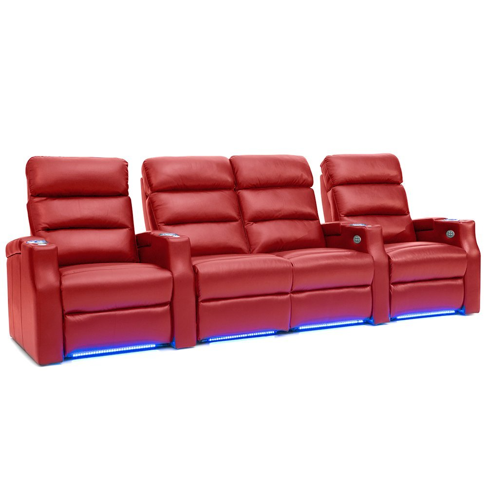 Barcalounger Matrix Leather Home Theater Seating Chairs Power Recline - (Row of 4 w/ Loveseat, Red)
