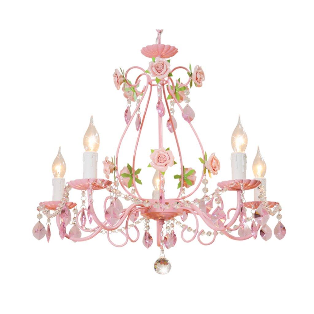 TangMengYun Europäische Kerze Kristall Kronleuchter, Persönlichkeit dekorative Anhänger Deckenleuchte, Kinderzimmer Schlafzimmer Wohnzimmer Restaurant Rosa Hängelampe Pendelleuchte
