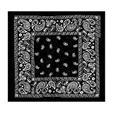 L&M 12Pcs Bandanas 100% Cotton Paisley Print Head Wrap Scarf Wristband (Black)