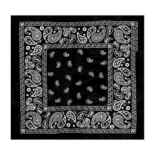 L&M 12Pcs Bandanas 100% Cotton Paisley Print Head Wrap Scarf Wristband (Black) by L&M (Image #1)
