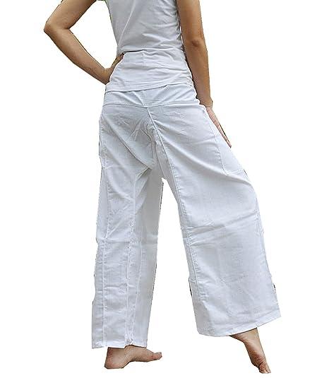 SIAM THAILAND Pantalones de Yoga con Tejido de algodón, Pantalones de Pescador Thai, Color Blanco