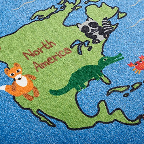 ECR4Kids Animals of the World Educational Activity Rug for Children, School Classroom Learning Carpet, Rectangle, 6 x 9-Feet by ECR4Kids (Image #3)