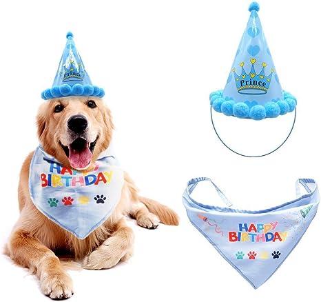 Amazon.com: Qivange - Bandana de cumpleaños para perro con ...