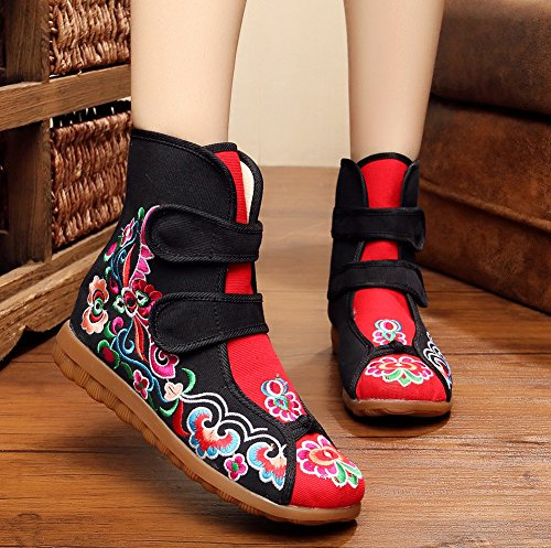 AvaCostume Womens Floral Embroidery Old Beijing Oxford Flats Velcro Boots Shoes Black FFdBC