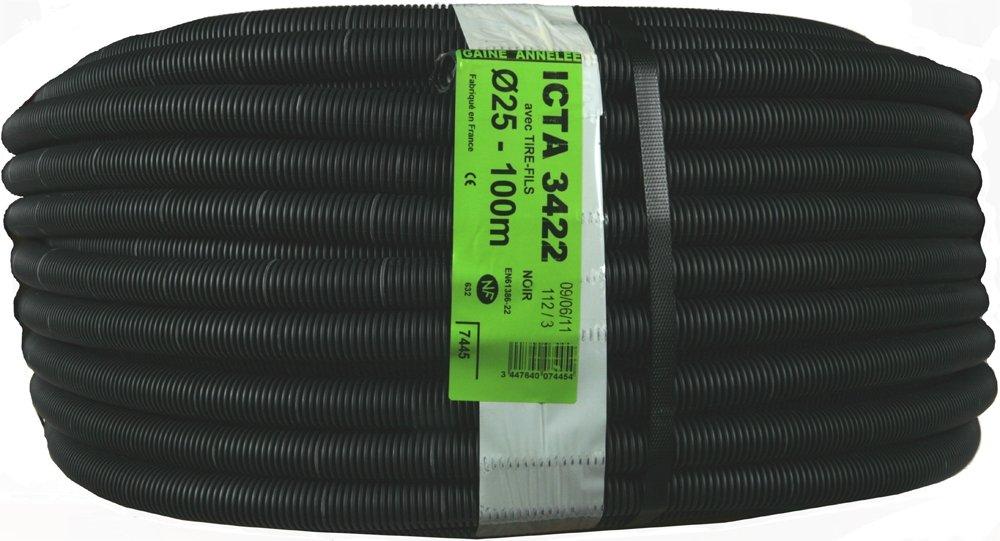 Janoplast JAN007445 - Icta tubo corrugato (con cavo, lubrificato, 100m, 25mm)