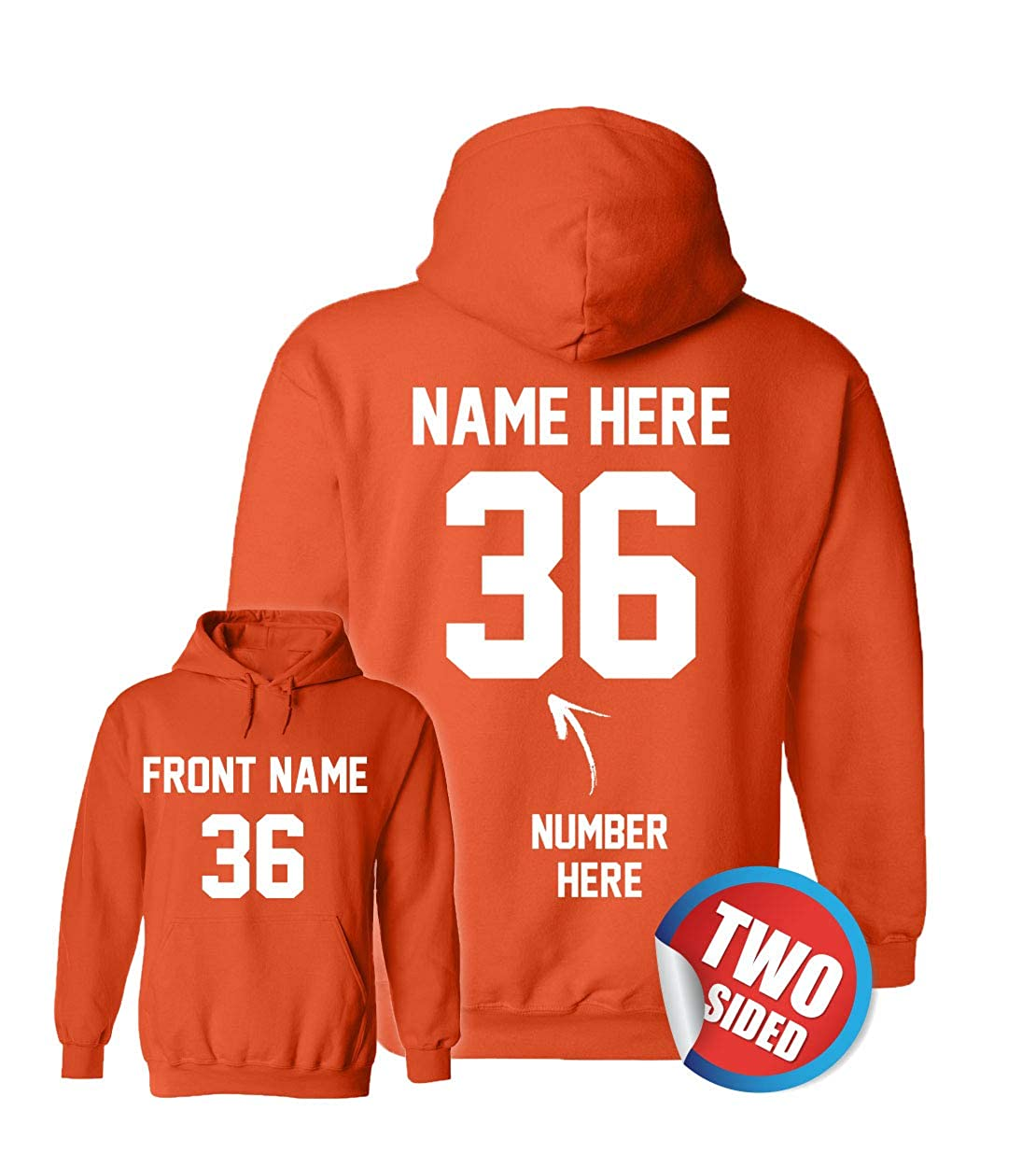 Custom Hoodies - Add Your Name & Number - 2...