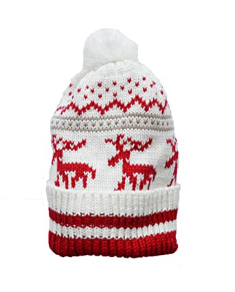 159fae762aec7 Christmas reindeer pattern beanie hat with pom pom Red  Amazon.co.uk   Clothing