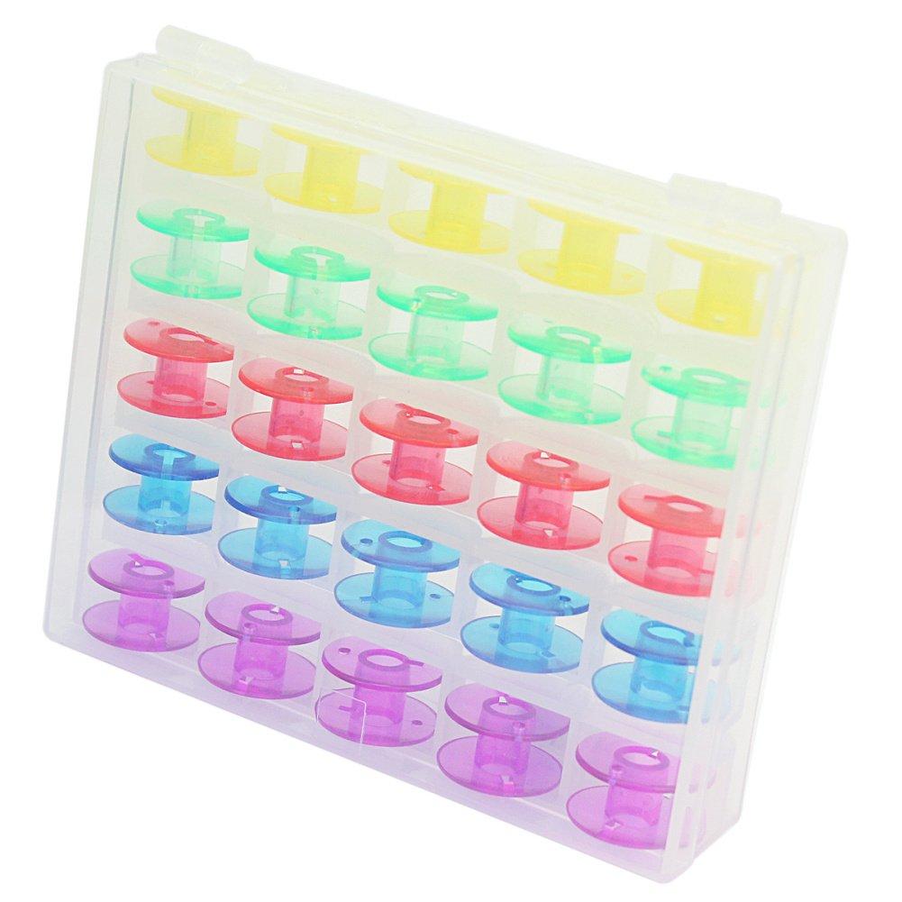 25 x Nuevo Plástico Bobinas Carrete Máquina de Coser Con Caja de Almacenamiento product image