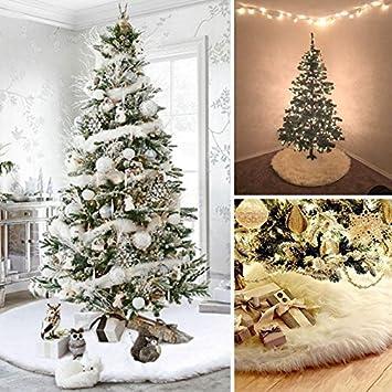 amazon kicode white christmas tree skirt plush apron xmas print