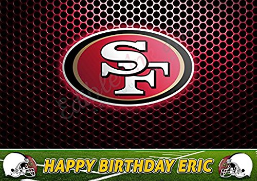 Francisco San 49ers Sugar - San Francisco 49ers Edible Cake Topper Personalized Birthday 1/2 Size Sheet Decoration Party Birthday Sugar Frosting Transfer Fondant Image