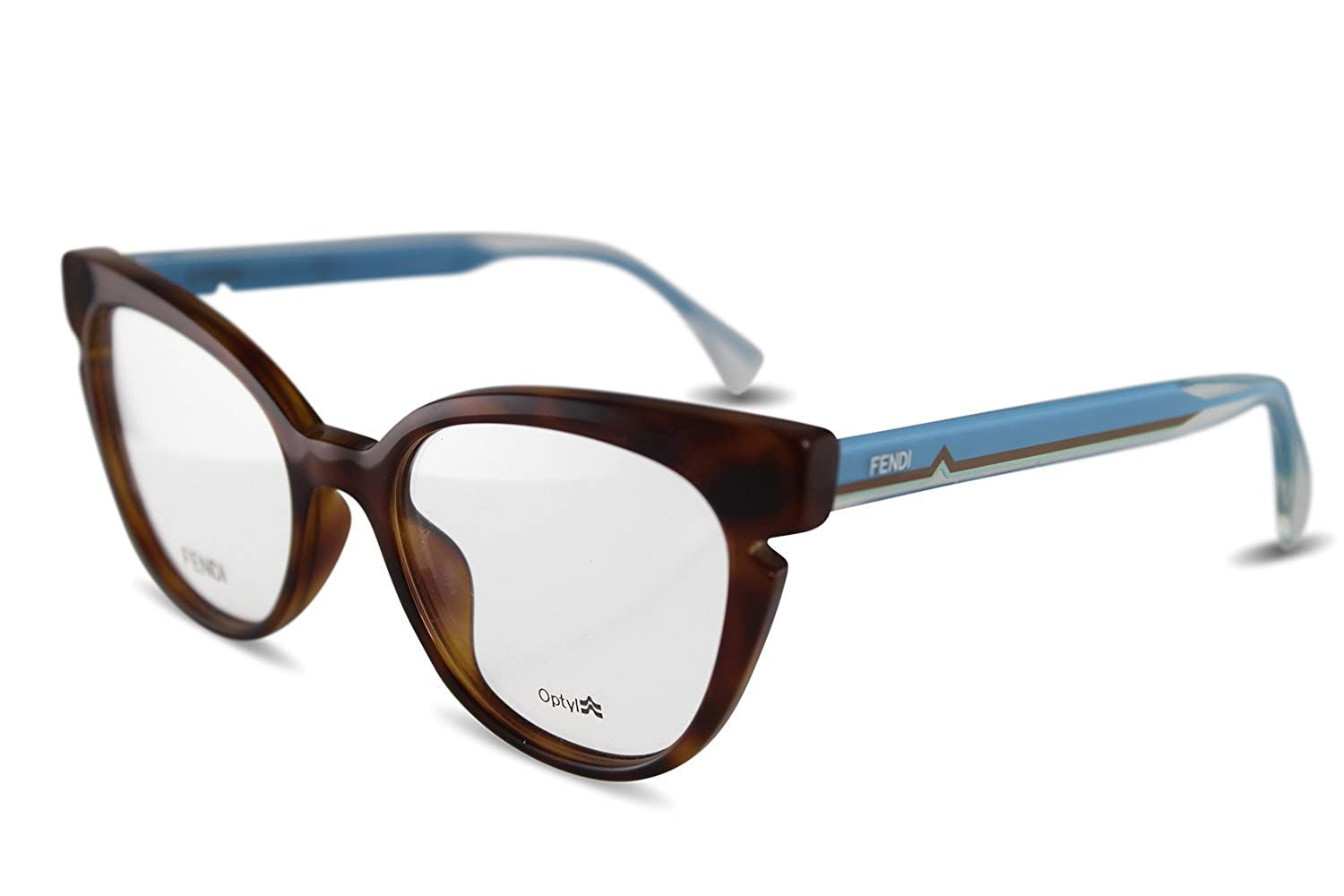66fcbddd31b Amazon.com  FENDI Eyeglasses 0134 0N9D Havana Crystal Blue 50MM  Clothing