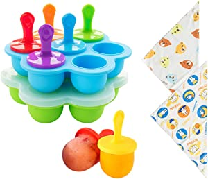 2-Pack Silicone Ice Popsicle Pop Molds, 7-Hole Egg Bites Molds, Non-Stick Ice Pop Maker, Food Grade Baby Food Storage Freezer Trays with 7 colorful BPA-Free Plastic Sticks