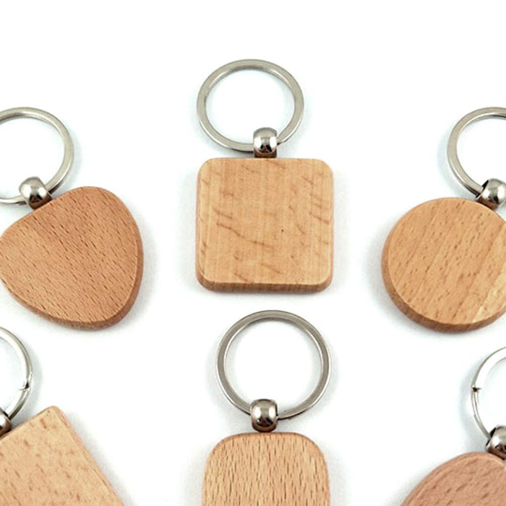 LIOOBO Llaveros de madera Llaveros de madera pulida cuadrada El mejor regalo para ni/ñas y mujeres