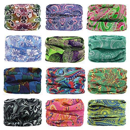 Headwear Head Wrap Sports Headband Sweatband Casual Magic Scarf Bandana 12 in 1 Multifunctional 12PCS/9PCS/6PCS for Men and Women