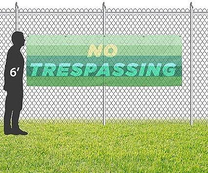 CGSignLab 12x4 Modern Gradient Wind-Resistant Outdoor Mesh Vinyl Banner No Trespassing