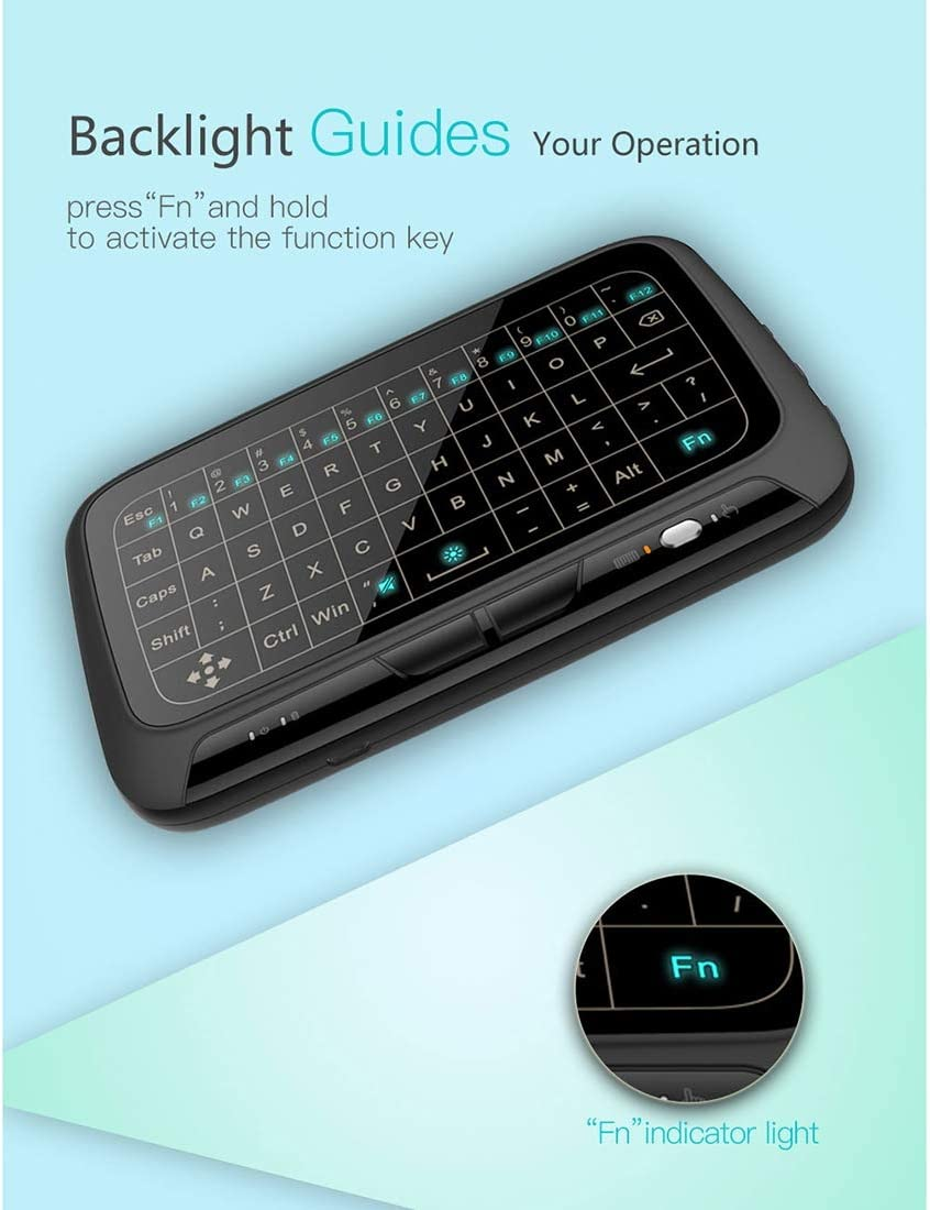 2.4GHz Mini Wireless Keyboard Full Touchpad with 3-Level Adjustable Backlight Happyshopping Russian i8 air Mouse Wireless Keyboard with touchp H18