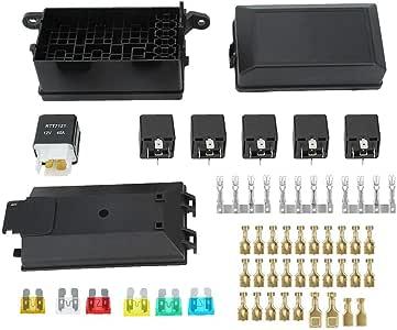 Akozon Caja de fusibles para automóvil con 1pc 4p 12V Relay y 5pcs 40A Relé de 6 vías de plástico para barcos de carreras de coches: Amazon.es: Coche y moto