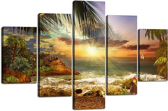 Unframed Extra Large Canvas Print Panoramic Blue Mountain Sky Digital Art