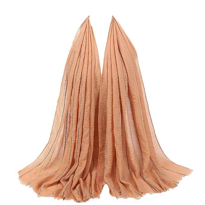 c158f6cb472f Rovinci 1 PC Été Printemps Femmes Foulard Mode Dames Couleur Unie Coton  Boule de Cheveux Écharpe Musulman Doux Emballage Longue Châle (Bleu)   Amazon.fr  ...