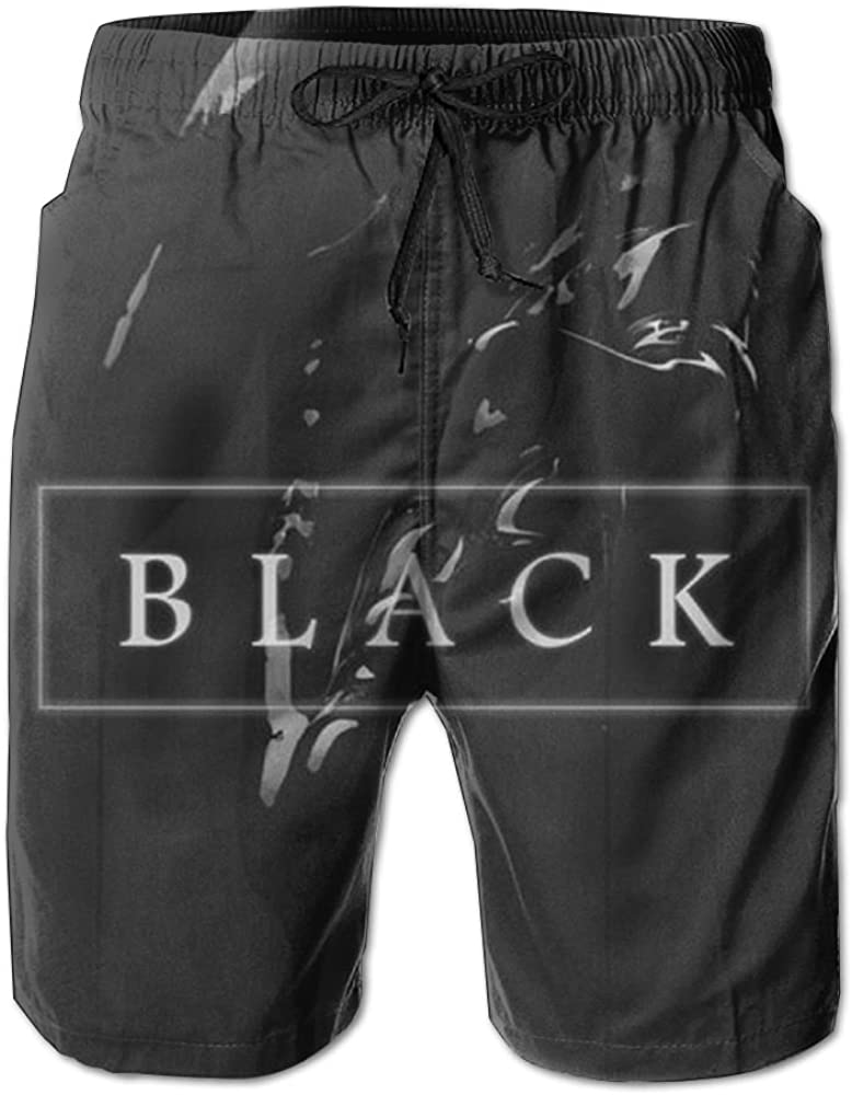Mens Black Summer Holiday Quick-Drying Swim Trunks Beach Shorts Board Shorts