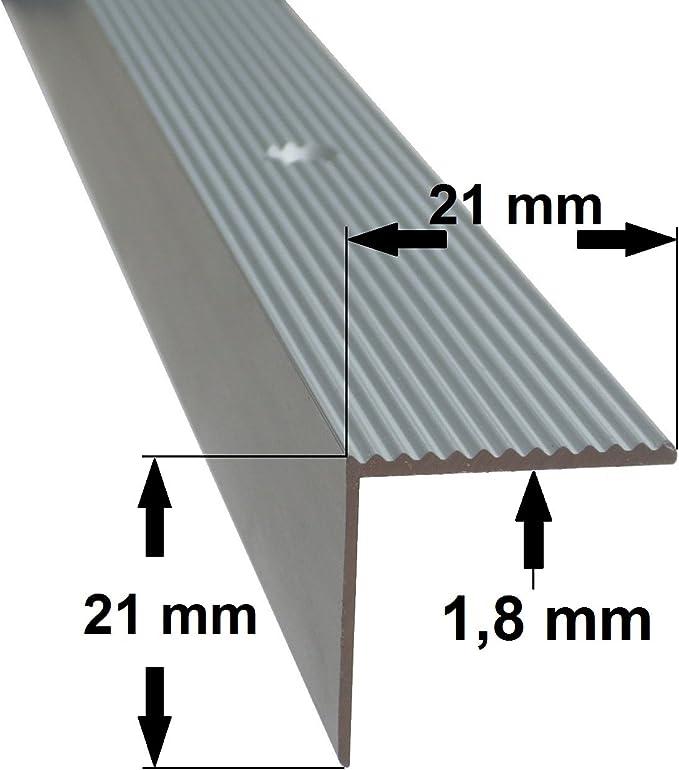 B-Ware 21 mm x 45 mm x 75 cm Silber verschiedene Gr/ö/ßen Treppenkanten Winkelprofil Treppenwinkelprofil Treppenprofil Treppenstufenprofil