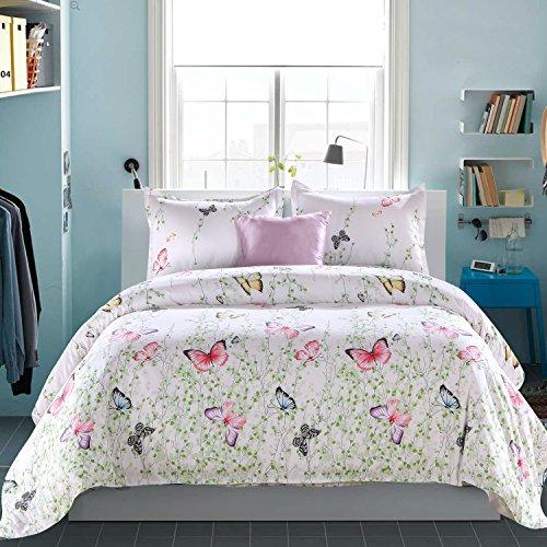 LAMEJOR Duvet Cover Set King Size Butterfly Pattern White Comforter Cover Bedding Set Microfiber(1 Duvet Cover+2 (Butterfly Quilt)