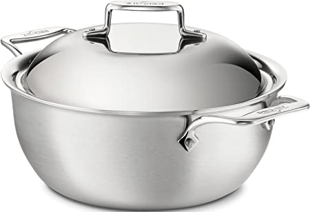 All-Clad BD55500 D5 Brushed 18 10 Stainless Steel 5-Ply Bonded Dishwasher Safe Dutch Oven with Domed Lid Cookware, 5.5-Quart, Silver