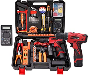 Cordless Hammer Drill Tool Kit, 92Pcs Household Power Tools Drill Set with 16.8V Lithium Driver Claw Hammer Wrenches Pliers DIY Accessories Tool Kit (Multimeter included)