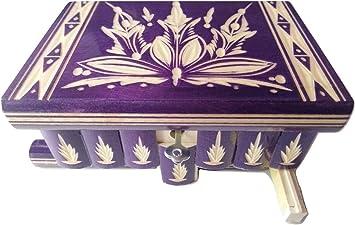 Nueva hermosa caja mágica, misteriosa caja, puzzle caja, caja secreta, hecha a mano, casilla complicado, caja de madera tallada, regalo perfecto, juguete de madera (Lilla): Amazon.es: Juguetes y juegos