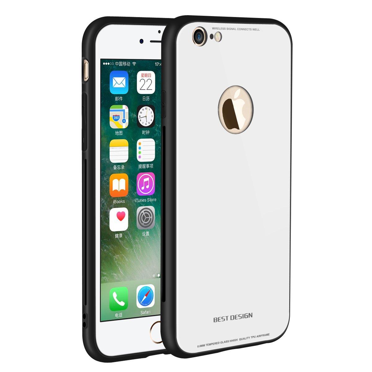 iPhone 6 Plus / 6s Plusケース、iCoverCaseアンチスクラッチテンペレッドガラスバックカバー+アンチドロップ&スリップ防止TPUフレームハイブリッドシェルスリムケース耐衝撃カバーケースiPhone 6 Plus / 6s Plus 5.5用 - ホワイト   B07BPT2NNP