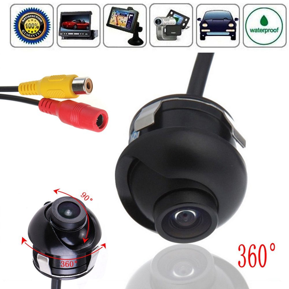 PONPY Mini CCD 360 Degree Rotatable HD Night Vision Car Rear Front Side View Backup Camera with Mirror Image Conversion Lines