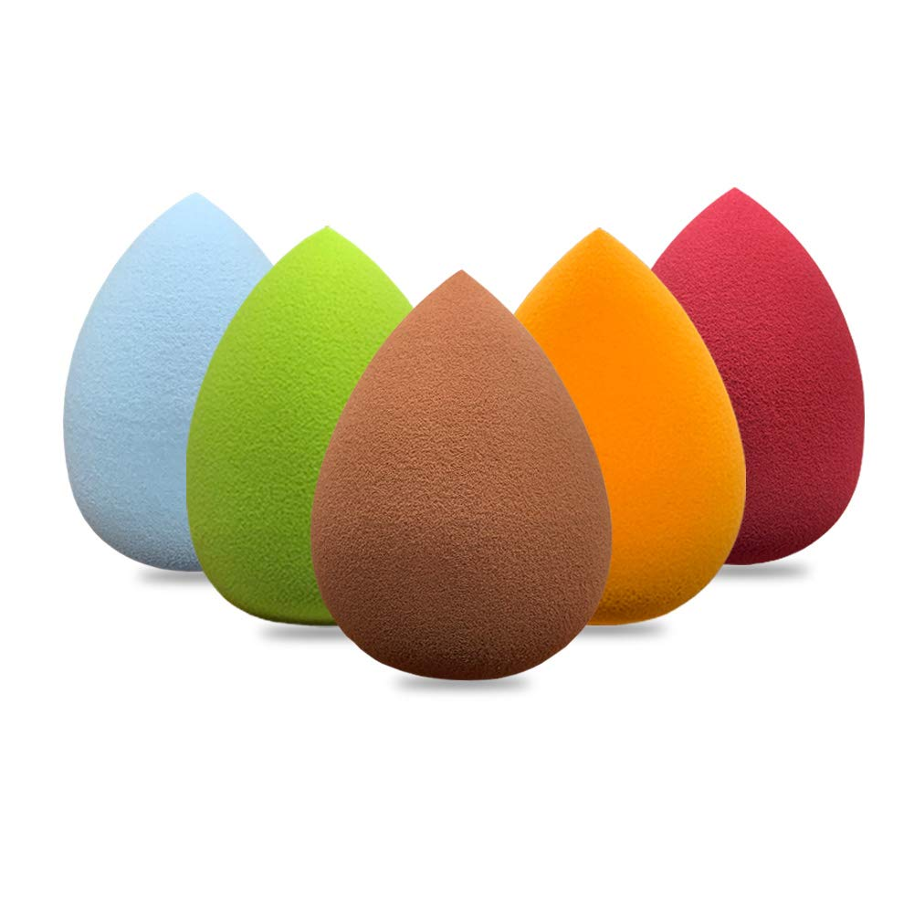Makeup Puff Sponge Blender Set: Brown+Orange+Wine Red+Blue+Green(Set of 5)