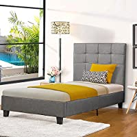 Harper & Bright Designs Upholstered Square Stitched Platform Bed Frame with Wooden Slats/ Mattress Foundation / no Box spring needed (Grey, Twin)