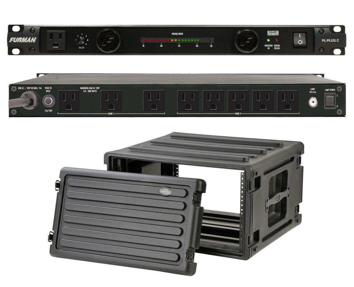 Furman PL-Plus C 15 Amp Power Conditioner + SKB 1SKB-R6U Roto Molded 6U Rack