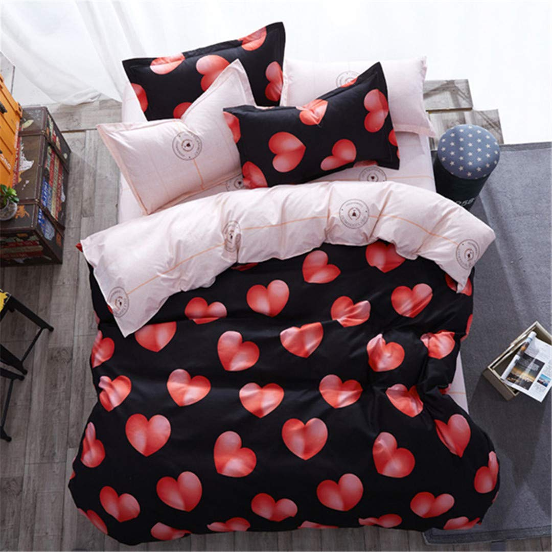 CHSLRER Flower Pattern AB Side Duvet Cover 3/4 Pcs Bedding Set Adult Kids Child Soft Bed Linens Single Twin Queen King Big Size 180X220 16 See Below for Size descriptions